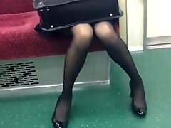 Skinny Japanese OL in Black Pantyhose