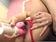 Naturally busty Asian cutie fingers and fucks her pussy