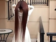 Japanese woman haircut long to short