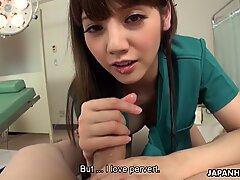 Japanese babe Rei Mizuna sucks dick in POV, uncensored